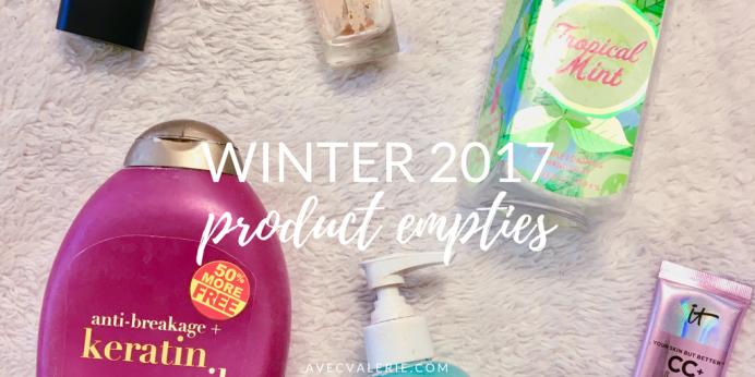 Winter 2017 Product Empties